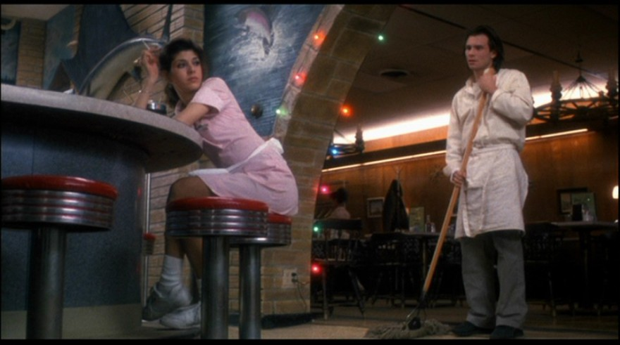 "Marisa Tomei and Christian Slater in ""Untamed Heart."""
