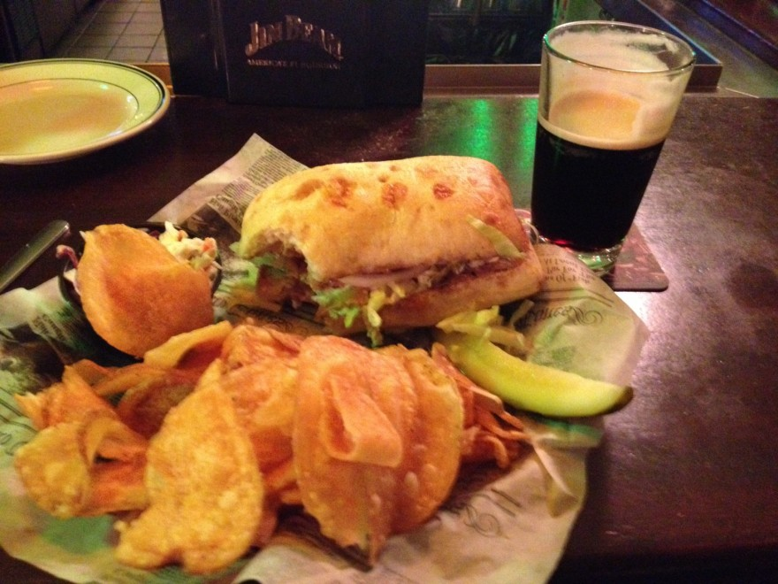 Black Salmon Sandwich and a pint of Guinness