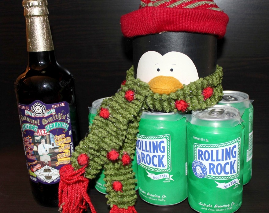 Samuel Smith's Winter Welcome Ale and Rolling Rock in the can